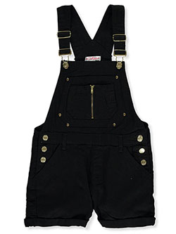 Girls' Cuffed Denim Shortalls by Chillipop in black, blush and olive