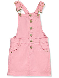 Girls' Denim Skirtalls by Chillipop in blush, pink, white and yellow