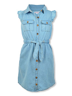 Chillipop Girls' Belted Denim Dress by Pink Butterfly in Denim blue, Girls Fashion