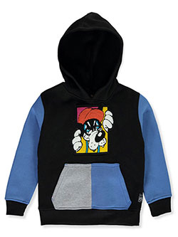 Colorblocked Chenille Pullover Hoodie by Southpole in black and white