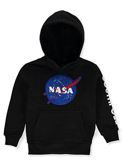 Boys' Chenille NASA Pullover Hoodie by Southpole in black, heather gray and red