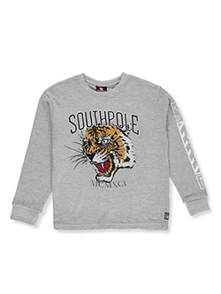 Boys' Tiger Thermal Shirt by Southpole in heather gray and white
