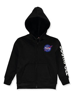 Boys' NASA Patch Zip Hoodie by Southpole in black, heather gray and red