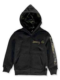 Boys' Chenille Camo Zip Hoodie by Southpole in black, heather gray and navy