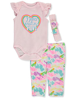 Baby Girls' Rainbow 3-Piece Layette Set by Wee Play in Multi