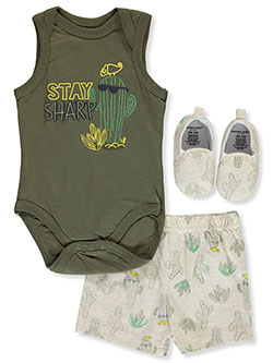 Emporio Cool Cactus 3-Piece Layette Set by Emporio Baby in Olive, Infants