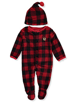 Baby Boys' Plush Check Coverall & Cap Set by Weeplay in Multi