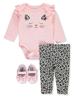 Baby Girls' Cat 3-Piece Layette Set by Emporio Baby in Multi