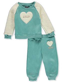 XOXO Faux Fur Heart 2-Piece Sweatsuit Outfit by XOXO Girls in Multi - Active Sets