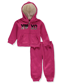 ' Sequin Logo 2-Piece Sweatsuit Outfit by XOXO Girls in Multi - Active Sets
