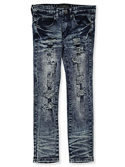 Boys' Vertical Rip Skinny Jeans by Encrypted in Indigo