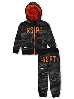 Boys' RSPT 2-Piece Sweatsuit Outfit by Encrypted in black camo and wood, Boys Fashion