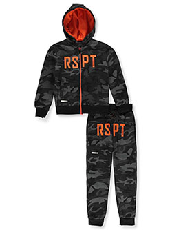 Boys' RSPT 2-Piece Sweatsuit Outfit by Encrypted in black camo and heather marled