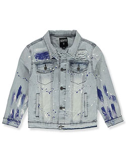Boys' Paint Splatter Denim Jacket by Encrypted in Light wash