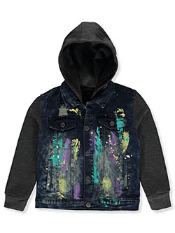 Boys' Paint Splatter Hooded Denim Jacket by Encrypted in Dark wash