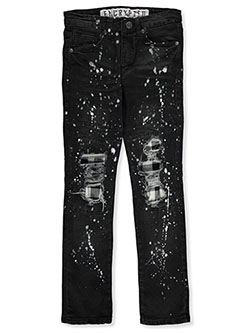 Boys' Paint Splatter Rip Jeans by Encrypted in Black