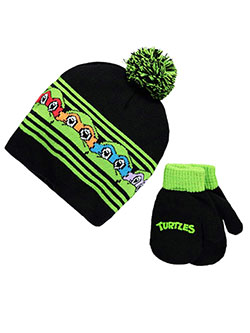 "TMNT ""Peeking Turtles"" Beanie and Mittens Set (Toddler One Size) - CookiesKids.com"