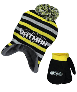 "Batman ""Striped Bat"" Beanie and Mittens Set (Infant One Size) - CookiesKids.com"