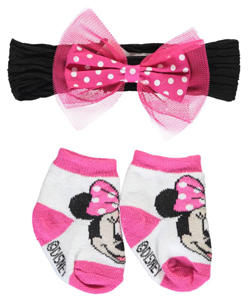"Minnie Mouse Baby Girls' ""Tulle Cute"" Headwrap & Booties Set - CookiesKids.com"