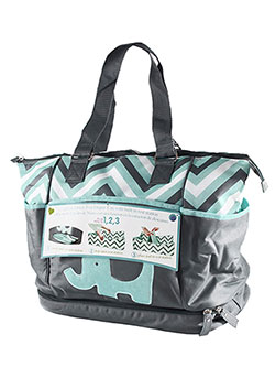"Tender Kisses ""Zigzag Elephant"" Diaper Tote with Rest Station - CookiesKids.com"