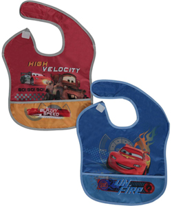 "Disney Cars ""On Fire"" 2-Pack Waterproof Bibs - CookiesKids.com"