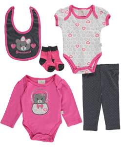 "Duck Duck Goose Baby Girls' ""Sweetheart Cub"" 5-Piece Layette Set - CookiesKids.com"