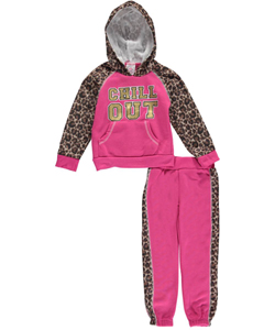 "Real Love Little Girls' ""Chill Out"" 2-Piece Fleece Sweatsuit (Sizes 4 – 6X) - CookiesKids.com"