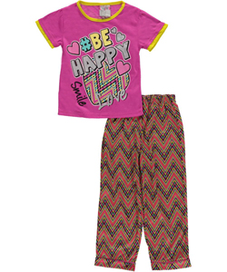 "Sweet n Sassy Little Girls' ""#BeHappy"" 2-Piece Pajamas (Sizes 4 – 6X) - CookiesKids.com"