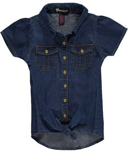 "Dollhouse Big Girls' ""Tie-Front Chambray"" Top (Sizes 7 – 16) - CookiesKids.com"