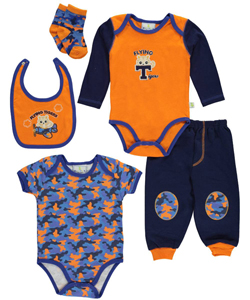 "Duck Duck Goose Baby Boys' ""Flying Tigers"" 5-Piece Layette Set - CookiesKids.com"