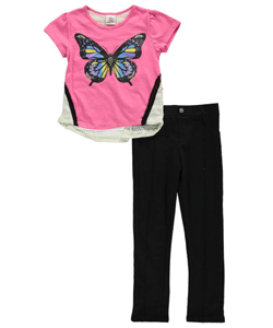 "Real Love Big Girls' ""Butterfly Sparkle"" 2-Piece Outfit (Sizes 7 – 16) - CookiesKids.com"