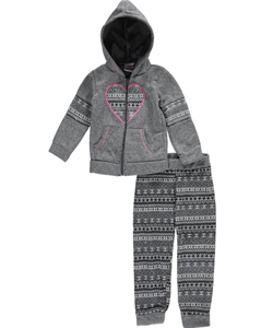 "Real Love Little Girls' ""Heart Tribe"" 2-Piece Fleece Sweatsuit (Sizes 4 – 6X) - CookiesKids.com"