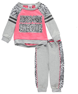 "Real Love Baby Girls' ""Double Awesome"" 2-Piece French Terry Sweatsuit - CookiesKids.com"