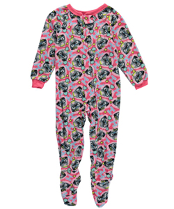"Sweet n Sassy Little Girls' ""Pugs & Hugs"" Footed Pajamas (Sizes 4 – 6X) - CookiesKids.com"