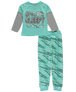 "Sweet n Sassy Big Girls' ""Born Sleepy"" 2-Piece Pajamas (Sizes 7 – 16) - CookiesKids.com"