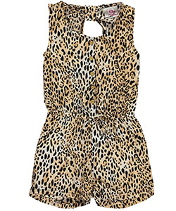"Real Love Little Girls' ""Exotic Leopard"" Romper (Sizes 4 – 6X) - CookiesKids.com"