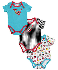 "Duck Duck Goose Baby Boys' ""Checkered Rock"" 3-Pack Bodysuits - CookiesKids.com"