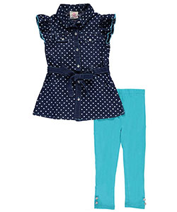 "Real Love Little Girls' Toddler ""Heart-Printed Chambray"" 2-Piece Outfit (Sizes 2T – 4T) - CookiesKids.com"