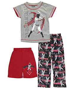 "Quad Seven Little Boys' ""Baseball Ink"" 3-Piece Pajamas (Sizes 4 – 7) - CookiesKids.com"
