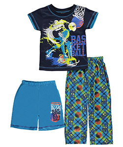 "Quad Seven Little Boys' ""Basketball Ink"" 3-Piece Pajamas (Sizes 4 – 7) - CookiesKids.com"