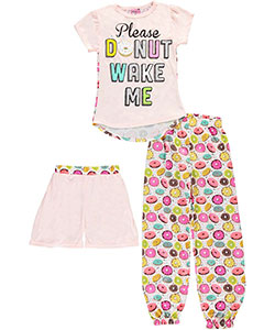 "Sweet n Sassy Big Girls' ""Donut Wake Me"" 3-Piece Pajamas (Sizes 7 – 16) - CookiesKids.com"