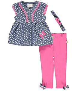 "Duck Duck Goose Baby Girls' ""Butterfly Chambray"" 3-Piece Outfit - CookiesKids.com"