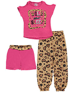 "Sweet N Sassy Little Girls' ""Wild About Sleep"" 2-Piece Pajamas (Sizes 4 – 6X) - CookiesKids.com"