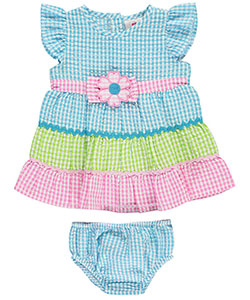 "Real Love Baby Girls' ""Gingham Tiers"" Dress with Diaper Cover - CookiesKids.com"