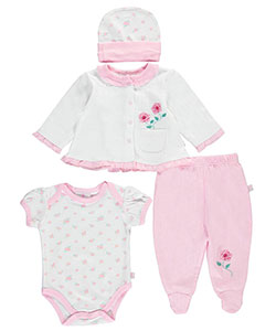 "Duck Duck Goose Baby Girls' ""Rosy Textures"" 4-Piece Layette Set - CookiesKids.com"