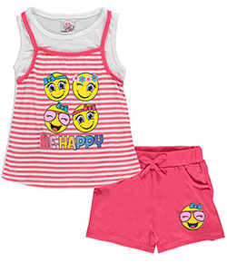 "Real Love Little Girls' Toddler ""Be Happy"" 2-Piece Outfit (Sizes 2T – 4T) - CookiesKids.com"