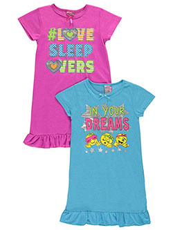 "Sweet n Sassy Big Girls' ""In Your Dreams"" 2-Pack Nightgowns (Sizes 7 – 16) - CookiesKids.com"