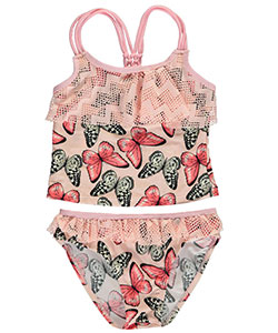 "2 B Real Little Girls' ""Chevron Eyelet"" 2-Piece Tankini (Sizes 4 – 6X) - CookiesKids.com"