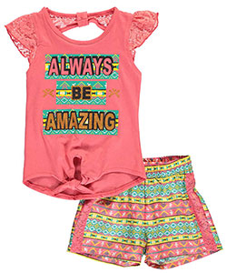 "Real Love Little Girls' ""Always Be Amazing"" 2-Piece Outfit (Sizes 4 – 6X) - CookiesKids.com"