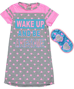 "Sweet n Sassy Little Girls' ""Wake Up, Be Awesome!"" Nightgown with Eye Mask (Sizes 4 – 6X) - CookiesKids.com"
